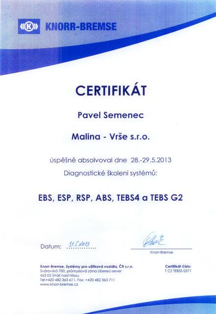 Certifikát Knorr Bremse
