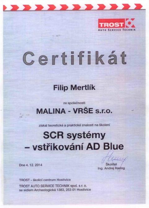 Certifikát: Filip Mertlík - SCR systémy