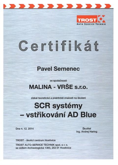 Certifikát: Pavel Semenec - SCR systémy