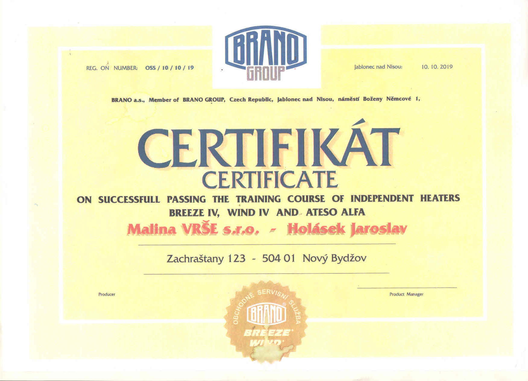 Independent heaters certificate